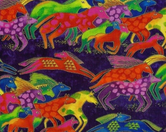 RARE Dancing Horses Laurel Burch Fabric Bright Horses on Blue 1/2 Yard Y0419-31M
