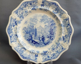 An Elija Jones, Blue & White, 'Picturesque Asiatic Beauties' Plate