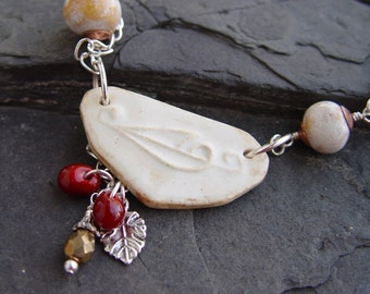 Handmade Stylized Leaf Stoneware, Peach Porcelain Silver Necklace