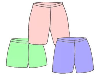 Plus Size Girls Elastic Waist Shorts PDF Sewing Pattern, Sizes 8-10-12