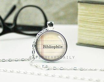 Bibliophile Necklace - Book Pendant - Gift for Book Lover - Book Necklace - Literary Jewelry - Book Gifts -   (B2003)