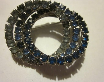 "triple rhinestone circle pin. shades of blue rhinestones, circle pin 1 1/2"""