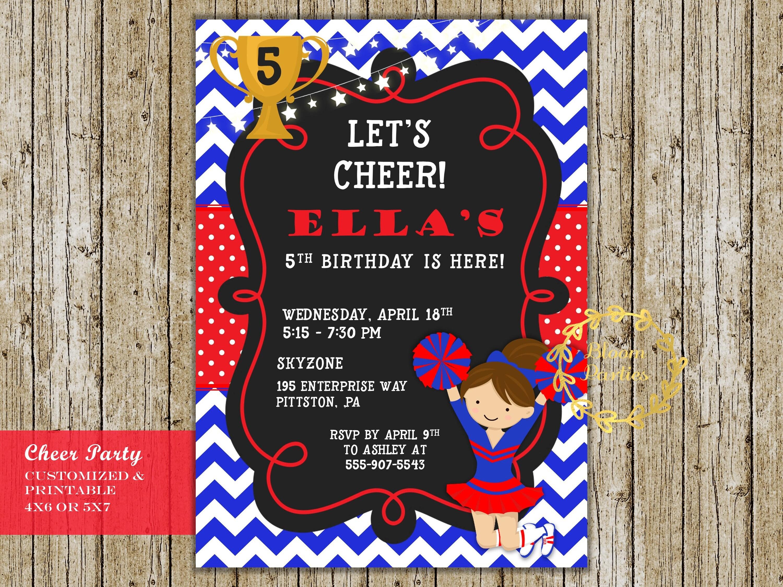 Cheer Party Invitation Cheer Birthday Cheerleading Girl