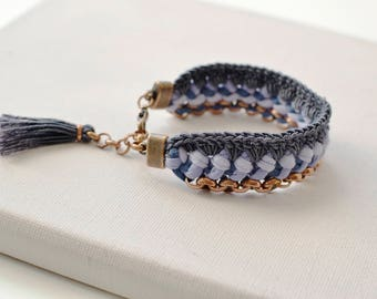 Crochet Statement Bracelet, Woven Jersey Bracelet, Fabric Cuff Bracelet, Shades of Blue and Mauve with Dark Grey Crochet Details