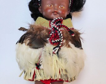 Rare Vintage Rubber Pedigree Maori Doll, Real Feather Cape, New Zealand, Kitsch ~ 1950s ~ Mid Century Souvenir ~ Kiwiana Decor ~ Collectible