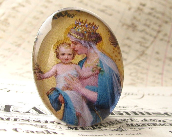 "Handmade ""Madonna and Child"" 40x30 mm glass oval cabochon, 40x30mm 30x40mm, yellow, blue, motherhood, religious icon"