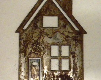 6 inch House Cabin Home Metal Rough Rusty Vintage-y Steel Wall Art Ornament Craft Sign Wind Chime