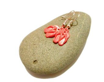 Tong earrings neon orange