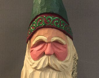 HAND CARVED original rustic green hat Santa bust from 100 year old Cottonwood Bark.