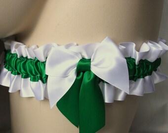 White , Emerald , Apple , Green , Satin Garter , Garter , Wedding , Bride , To Keep , Throw , Bachelorette , Hen , UK