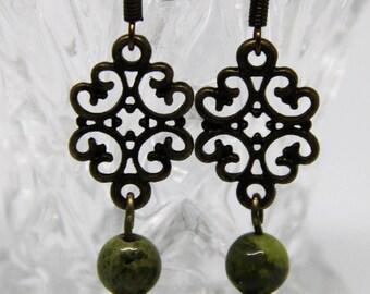 Light green Morganite, Green Unakite beads,