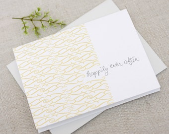 Happily Ever After Wedding Congratulations Card / Wedding Day Congrats Card / Newlywed Card / Just Married / Hand Lettered Card