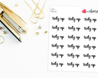 Tidy Up Script | cleaning stickers, household chores, script stickers, organization stickers - Hand Drawn, Hand Lettered Planner Stickers