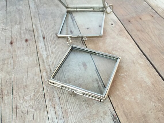 Double Sided Silver Square Glass Frame Locket Hinged Pendant