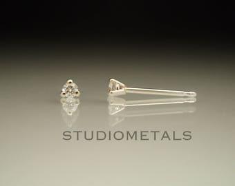 Tiny 2mm Diamond Studs, Martini Stud Earrings, 2mm Stud Earrings, Diamond Earrings, April Birthstone, Real Diamond Studs, Dainty Earrings
