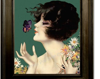 Art Deco Flapper Art Print 8 x 10 - Roaring 20s - Jazz Age - Butterfly Pin Up Girl With Flowers