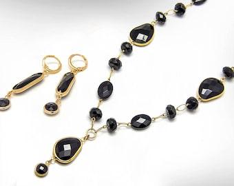 Black Onyx Jewelry Set, Black Onyx Necklace and Black Onyx Drop Earrings Gift Set, Free Shipping