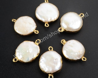 1Pcs Lead Free Gold Plated Round Natural Pearl Connector Double Loops White Pearl Shell Coin Charm Gemstone Making Jewelry Bead G1071