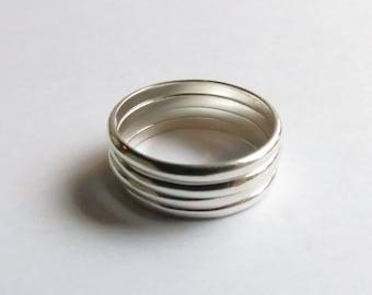 Custom Narrow Sterling Silver Stacking Band Ring or Minimalist wedding band. Custom Wedding Band. Custom Solid Sterling Silver Ring.