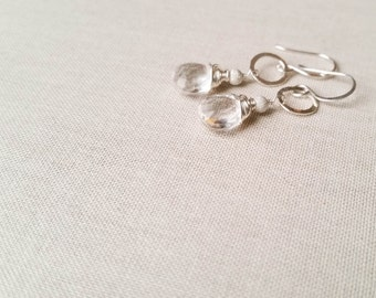 Quartz and Sterling Silver Bridal Drop Earrings - 925 Sterling Silver Wire Wrapped Clear Rock Crystal Quartz Hammered Silver Stardust Beads