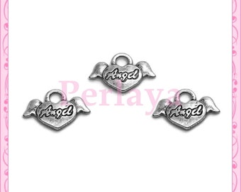 Set of 15 silver 20 mm REF058X3 Angel winged heart charms