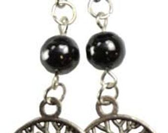 Dark Hematite Dangling Tree of Life Earrings for Focus Energy and Meditation