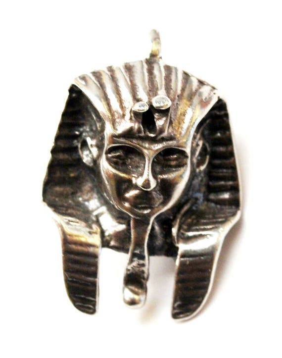 Sterling Egyptian Pharaoh Pendant  Charm  925 silver hallow   Mask Tribal - necklace pendant charm