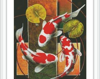Counted Cross Stitch Pattern Koi Fish - Large Cross Stitch Chart - Cross Stitch Nature - DMC Floss Cross Stitch Design - Printable PDF