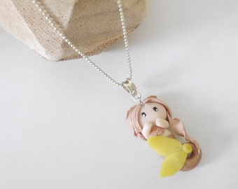 Necklace - pink and yellow polymerclay Mermaid doll