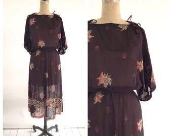 70s floral dress | boho chic floral dress | 1970s boho dress