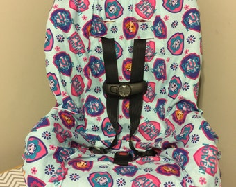 READY To SHIP TODDLER Carseat Cover Made With Paw Patrol Fabric Girl Pup Skye Everest