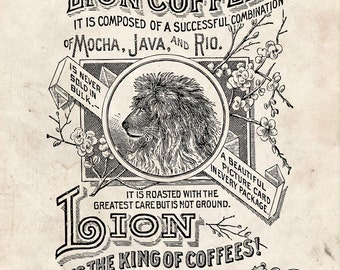 Water Slide Decal: Print transfer to furniture, wood, paper Typography Image Antique Clip Art – Vintage Lion Coffee Advert #018