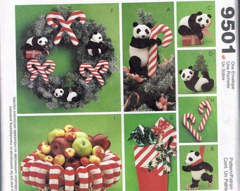 Christmas Home Decor Pattern - Panda Bear Fabric Christmas Ornaments - Candy Cane Fabric Christmas Ornaments - Craft Pattern - McCalls 9501