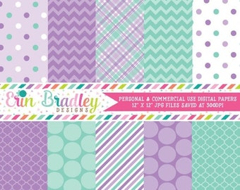 80% OFF SALE Purple and Aqua Digital Paper Pack Patterned Paper Instant Download