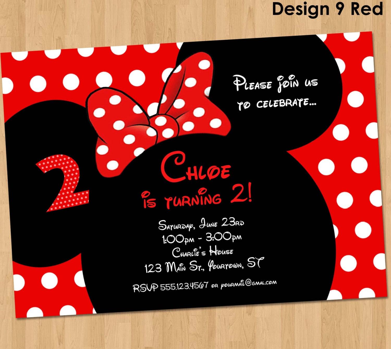 Célèbre Minnie Mouse Invitation parti personnalisé invitation BG38
