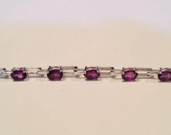 Amethyst Oval Cut Link Bracelet - 7.25 Inch