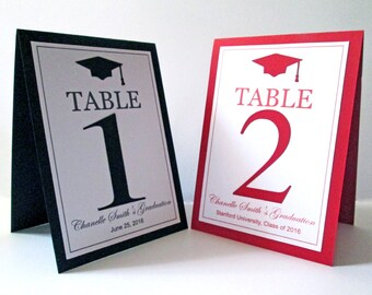 5 Graduation Table Numbers, Graduation Table Cards, College Graduation Decorations, Class of 2018, Graduation Party Decorations, Grad Party