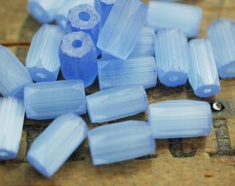 Blue Satin Glass Atlas Tube Beads Faceted Satin Glass Beads 10x5mm Tube Beads (12) SV11