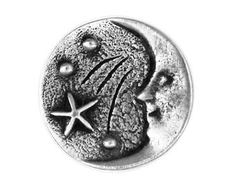 2 Moon and Stars 11/16 inch ( 18 mm ) Pewter Metal Buttons Antique Silver Color