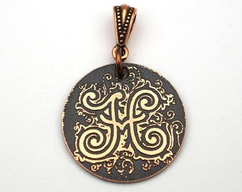 Letter H pendant, small round flat metal etched copper jewelry, 25mm