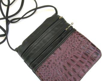 vintage handmade leather shoulder bag   ...  plum and black cross body bag