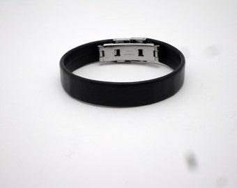 Upcycled Recycled Licorice Leather Bracelet