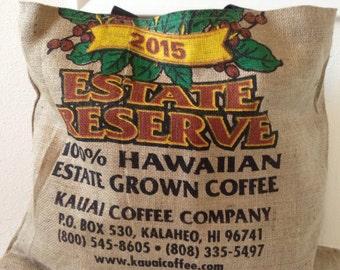 Kauai Coffee Company Burlap Tote/ Market Bag/ Beach Bag/ Market Tote