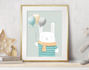 Nursery Bunny Decor, Nursery Art, Nursery Decor, Baby Decor, Baby Gift, Nursery Prints, White Bunny, Neutral Wall Art, New Baby Gift, Mint