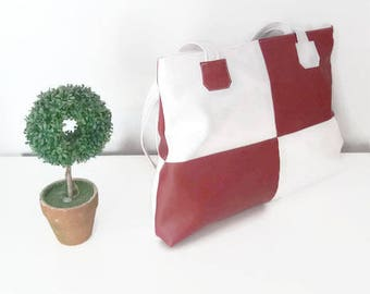 Orion bag Burgundy Red and white