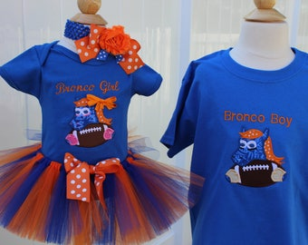 Denver broncos, Broncos, football, sibling clothes, baby girl clothes, bodysuit, tutu, boys tshirt, t shirt, t-shirt, baby shower gift, blue