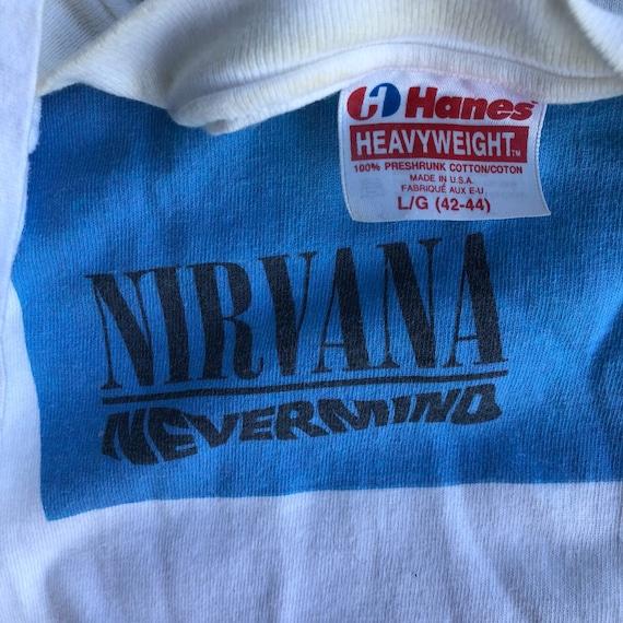 Rare Original Promo Tag Nevermind Hanes USA T Shirt L 90s Nirvana dx6I6r