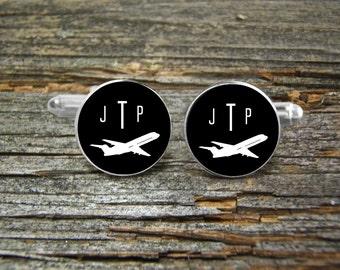 Airplane Aviation Cufflinks Monogramed Silver or Gold-Cufflinks-Wedding-Jewelry Box-Keepsake-Men Gift-Pilot-Flying-Groom-Commercial Airliner