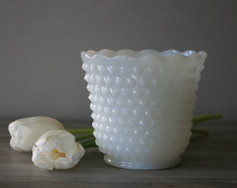 Fire-King Milk Glass Planter / 1950s Anchor Hocking Fire-King / Hobnail Milk Glass