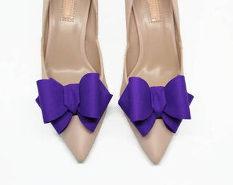 Purple 3D Bows Shoe Clips Wedding Bridal Party Accessories for Shoes